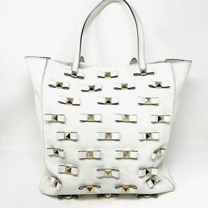 Kate Spade Tote Bag White Leather Bow Extra Large